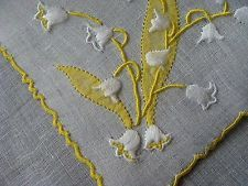 RARE Vintage MARGHAB Linen Hanky Lily of the Valley Madeira Hand Embr PRISTINE