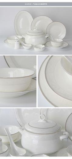 【公主日記】高檔禮品唐山骨瓷陶瓷餐具50頭 骨質瓷碗盤碟套裝-淘寶網