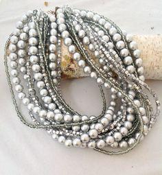 Handmade chunky bold bridal Silver Necklace Brides Bridesmaids