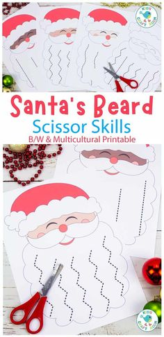 This Santa's Beard Christmas Scissor Skills Activity is a fabulous way for children to enjoy some cutting practice and develop their scissor skills this holiday. (B/W and multicultural coloured printable.) #kidscraftroom #kidscrafts #kidsactivities #cuttingpractice #scissorskills #finemotorskills #santacrafts #christmascrafts Cutting Activities, Fine Motor Activities For Kids, Christmas Activities For Kids, Toddler Christmas, Kids Christmas, Santa Crafts, Holiday Crafts, Cultural Crafts, Scissor Skills