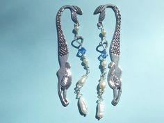 Tibetian Silver Mermaid Bookmark/ Mermaid Bookmark with Pearls/ Silver Mermaid Bookmark with Pearls and Blue Beads by JacarandaBlueDesigns on Etsy https://www.etsy.com/listing/211040650/tibetian-silver-mermaid-bookmark-mermaid