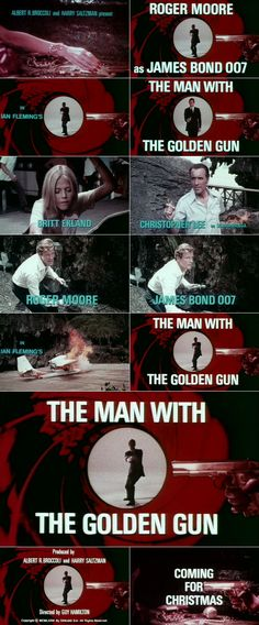 The Man with the Golden Gun (1974) trailer typography – the Movie title stills collection ✇ 'THE MAN WITH THE GOLDEN GUN' (1974), directed by Guy Hamilton, starring Roger Moore, Christopher Lee, Britt Ekland, Maud Adams #JamesBond #007