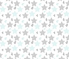 Twinkle twinkle little star cute baby nursery or christmas theme print in black white and blue night fabric by littlesmilemakers on Spoonflower - custom fabric