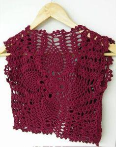 Crochet Burgundy Shrug Bolero Vest