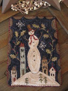 "Primitive Punch Needle ~ ""SNOW DAY"" ~ Winter Folk Art ~ Snowman ~ Mini Rug ~ Mat"