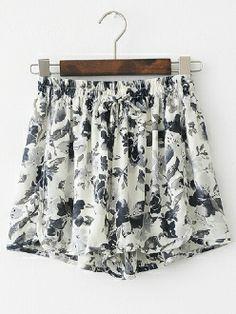 Mid Waist Ink Printed Drawstring Pleated Chiffon Short Pants