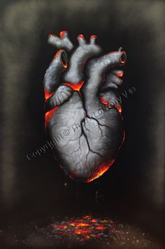 One of my recent paintings from a collection of hearts I am producing.  Title: my scorched heart.