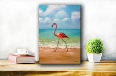 flamingo original paintingseascape paintingflamingo wall