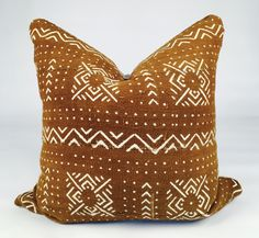 "20"" Light Brown African Mudcloth Pillow"