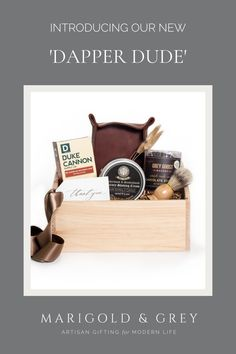 Ideal for a personalized groomsmen gift, our all-new 'Dapper Dude' is the ultimate gift box for any well put-together guy in your life. A mixture of snacks and self-care items makes a perfectly well-rounded gift ideal for groomsmen, male corporate clients, fathers, brothers, friends, co-workers, and employees!