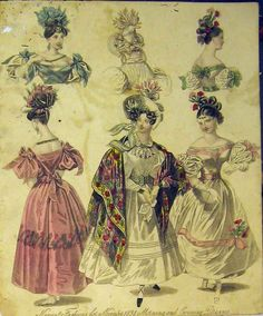 [1831 Womens Fashion Morning Evening Dresses Hats Colour]