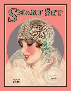 Gorgeous Art Deco Henry Clive Rare Smart Set Girl Beautiful Bride Wearing Lace Flapper Veil  Giclee Fine Art Print   11x14 1928 (DragonflyMeadowsArt)