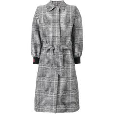 Fendi plaid tailored coat (3,960 CAD) ❤ liked on Polyvore featuring outerwear, coats, black, plaid coat, long sleeve coat, fendi coat, fitted coat and mid length coat