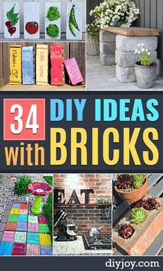DIY Upcycled DIY Ideas With Bricks - Home Decor and Creative Do It Yourself Projects to Make With Bricks - Ideas for Patio Walkway Fireplace Firepit Mantle Grill and Art - Inexpensive Decoration Tutorials With Step By Step Instruction for Brick Painted Bricks Crafts, Brick Crafts, Brick Projects, Diy Art Projects, Garden Projects, Diy Interior, Diy Simple, Easy Diy, Just Love