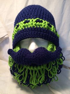 Seattle Seahawks Super Shaggy Beard and Mustache by TwinBarrFarm, $37.00