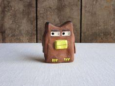 Pottery Animals, Ceramic Owl, Dollar Stores, Primitive, Whimsical, Miniatures, Clay, Sculpture, Ceramics