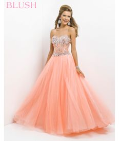 Coral Jeweled Strapless Prom Dress