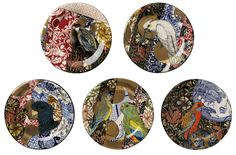 Stephen Bowers  WILLIAM MORRIS CAMOUFLAGE PLATES earthenware, underglaze colour, clear earthenware glaze, on-glaze, gold lustre, enamel each plate 32cm diameter (may be hung on the wall)