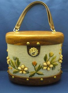 Bags by Whidby Wood & Straw Oval Bucket Purse
