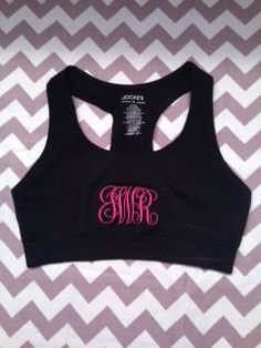 Super Cute Black and Hot Pink Monogrammed Sports Bra. $25.00, via Etsy.