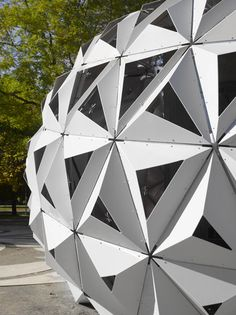 The spiky modules used to build this curving pavilion in Stuttgart, Germany, are made from a bioplastic containing over 90 percent renewable materials