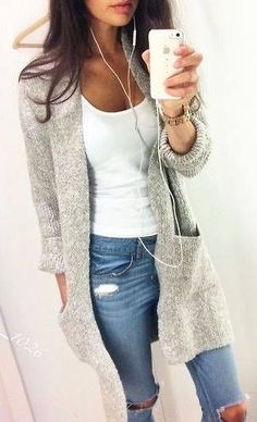 Sweater, simple tshirt & ripped jeans