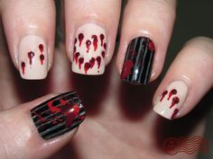 Thanks to The Daily Nail -- a different take on massacre nail art...Halloween is coming soon!!!