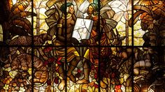 """Jorge Barradas (1894-1971) """"Colonial Portugal"""" Stained glass window depicting colonial Portugal; two african ladies holding Portugal coat-of-arms, flanked by floral motifs and wild animals Inscribed """"Desenho… - Veritas Art Auctioneers - 10/12/2014"""