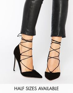 ASOS COLLECTION ASOS PILOT Lace Up Pointed High Heels