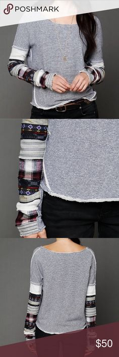 Free People Patch Up Sleeve Pullover Sweatshirt Free People We The Free Patch Up Sleeve Pullover Sweatshirt. Heathered and striped pullover sweater with multi-patterned patches and patchwork on the sleeves. Scoop neckline. Hems are raw edge. Not super long, hits just below the hips. Such a cozy top with a cute boho look! Sleeves can be rolled.  We the Free brings us back to our down-to-earth, All-American roots... lightly distressed and perfectly worn in feel. 78% Cotton, 20% Polyester, 2%…