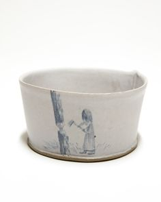 "BDDW BOWL 110 180.00 HAND MADE IN PHILADELPHIA  WITH CLAY MINED FROM THE FRANKFORD CLAY PIT.  APPROXIMATELY 2.5"" TALL X 5"" WIDE 12 - 14 oz."