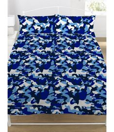 Zappi Blue Camouflage UK Double/US Full Unfilled Duvet Cover and Pillowcase Set Camouflage Colors, Army Camouflage, Camouflage Wallpaper, Double Duvet Covers, Duvet Cover Sizes, Main Colors, Light In The Dark, Color Combinations, Pillow Cases