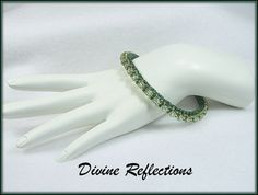 Green Bead Bangle Bracelet Bangle Green Bead by DivineReflections
