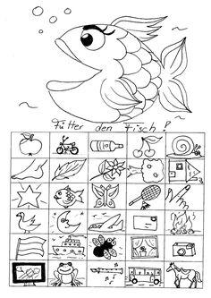 logopädisches Therapiematerial zu Dyslalie: Ein Lautfestigungsspiel für den Laut /f/ Anleitung: Die untere Fischmaullinie wird aufgeschlitzt. Die kleinen Bildchen werden auseinander geschnitten. Beim