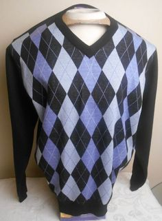 #EMPRA #Men's 100% Acrylic Black Gray Geometric #Argyle Size XL V-Neck #Sweater