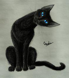 Aesthetically Pleasing Black Cat Art | Blue Eyes | Kitty | Kitten Painting | Black & Gray