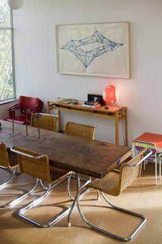 Vintage Mies van der Rohe tubular steel chairs.