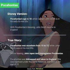 Disney movies vs the real story Disney Pixar, Sad Disney, Disney Jokes, Disney Pocahontas, Disney Facts, Disney Cartoons, Disney And Dreamworks, Disney Stuff, Evil Disney