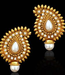 Buy Traditional Indian Bollywood Jewelry Gold Finish Paisley Stud Earrings danglers-drop online