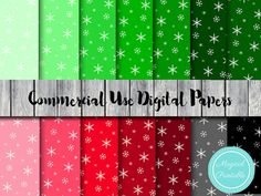 Snowflake Digital Papers Christmas Digital Papers by MagicalStudio