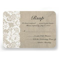 White Lace and Burlap Wedding RSVP Card: Zazzle