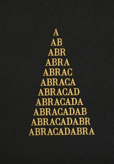 #text #type #typography #occult #okkvlt #visual #placement #triangle #power #of #three #threefold #verbal #chant  #incantation #phrase #Abracadabra #endless #arrangement #alphabet #letters #esotericism #mysticism