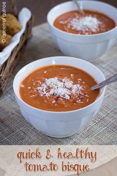 A recipe for healthy tomato bisque that& rich and creamy. Perfect for cold winter nights, and quick to whip, this vegan soup is healthy and delicious. Healthy Soup Recipes, Healthy Foods To Eat, Vegetarian Recipes, Healthy Eating, Diabetic Recipes, Tomato Bisque, Tomato Soup, Winter Food, Food And Drink