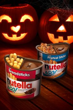 No tricks, just (Nutella & Go!) treats. Click to buy! 31 Days Of Halloween, Fall Halloween, Halloween Ideas, Nutella Go, Mal And Evie, New York Winter, Wolf Tattoo Design, Baby Planning, School Snacks