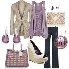 purple & beige outfit