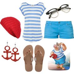 Little girl Smee inspired outfit Disney Peter Pan Jake and the Neverland Pirates Disney Themed Outfits, Disney Dresses, Disney Clothes, Disney Bound Outfits Casual, Polyvore Outfits, Costume Halloween, Mr Smee Costume, Disney Halloween, Costume Dress