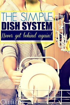 The Simple Dish System- Never Get Behind Again. Finally a routine for my dishes that actually works! Diy Cleaning Products, Cleaning Hacks, Organizing Tips, Organising, Organization Hacks, Home Renovation, Washing Dishes, Hot Mess, Home Repair