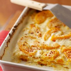 This vegetarian take on classic lasagna oozes with creamy sauce, tender butternut squash, and Parmesan cheese: http://www.bhg.com/recipes/party/seasonal/fall-comfort-food/?socsrc=bhgpin121413butternutsquashlasagna&page=20