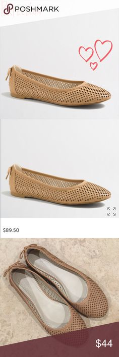J. Crew Factory 'cutout' ballet flats in nude J. Crew Factory 'cutout' ballet flats in nude/ tan. Great pre worn condition. Super comfy and cute with the perfect tie detail on the heels! Fit TTS. Open to offers, no trades. J. Crew Factory Shoes Flats & Loafers