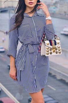 Shop Beading Mesh Splicing Pleated Maxi dress right now, get great deals at makeyouchic Mini Shirt Dress, Belted Shirt Dress, Striped Dress, Simple Dresses, Casual Dresses, Dress Outfits, Fashion Dresses, Maxi Dresses, Fashion Clothes